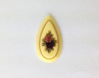 Vintage Ivory Large Pink Red Rose Cabochon Drop 37mm X 20mm (1) cab132C