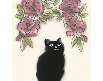 Black Cat Art print - Nature Lover - 4 for 3 SALE
