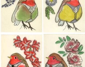 Robin bird artwork bird wall art  bird decor print set SALE Gift Set - 4 X The Four Seasons -  4 X 6 prints