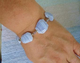 Sterling Silver 925 Crystal Crazy Lace Stone Bracelet