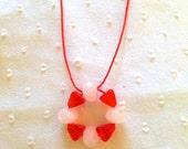 ORANGE CREAMSICLE Necklace-- Vintage Beaded Necklace on Orange Nylon Cord - Kids Necklace - Orange and White -