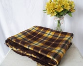 Vintage Faribault Faribo Wool Stadium Blanket - 1940s Plaid - Yellow and Brown Picnic Blanket