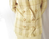Vintage 1980s Suit - Sterling Cooper - Yellow Double Breasted Skirt and Blazer - Viscose and Rayon - Size 6