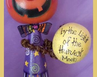 hand painted Jack O Lantern gourd cone Halloween pumpkin man doll harvest moon star candy corn glitter spider prim chick teamhaha hafair ofg