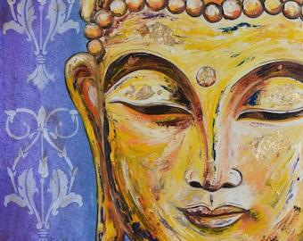 Golden Regal Buddha Original Oil Painting