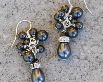Dark Gray Grey Cluster Pearl Earrings DeSIGNeR Wedding Bridal Sterling Silver Classy Elegance