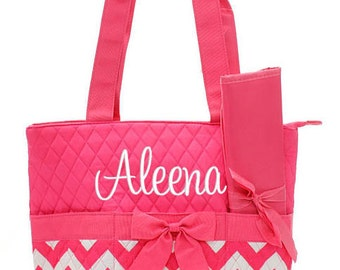 Personalized Diaper Bag Chevron Hot Pink White Quilted Monogrammed