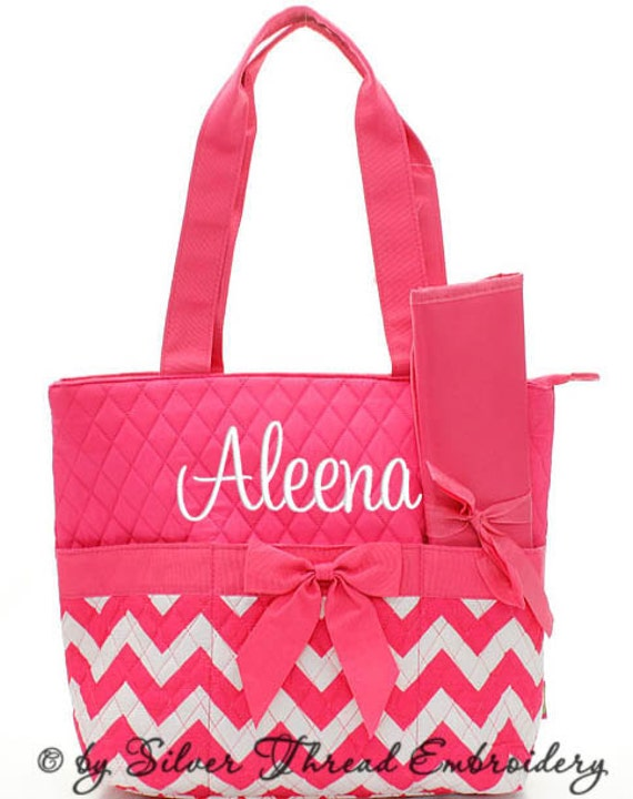 personalized diaper bag chevron hot pink white quilted. Black Bedroom Furniture Sets. Home Design Ideas