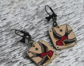Tattoo Bird Earrings - Tattoo Earrings - Bird Earrings - Sailor Jerry Earrings - Sparrow Earrings - Sparrow - Bird - Shrink Plastic  - Print