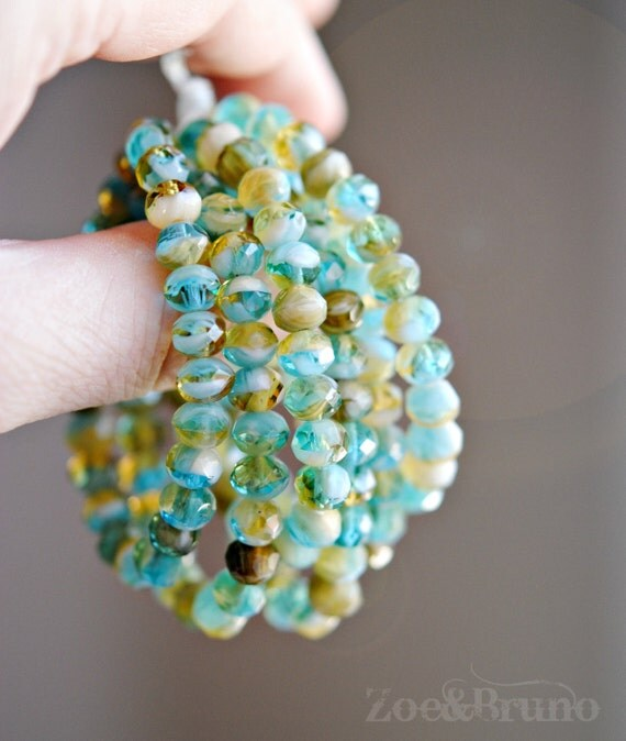 20 Blue Sakura – Czech Glass Rondelle Beads by ZoeAndBruno