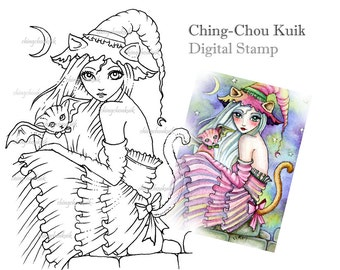 Kitty Tail Witch - Digital Stamp Instant Download / Fantasy Art by Ching-Chou Kuik