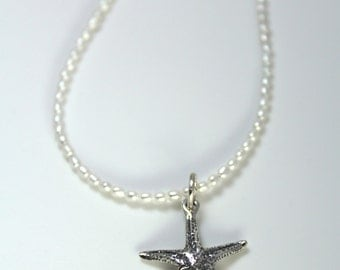 Silver Starfish Pearl Necklace