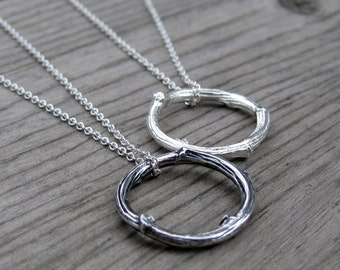 Twig Circle Necklace: Sterling Silver, Recycled Silver