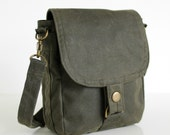 Waxed Canvas Bag, Waxed Canvas Hip Bag, Waxed Canvas Pouch - The Minus Hipster Plus in Olive Waxed Canvas