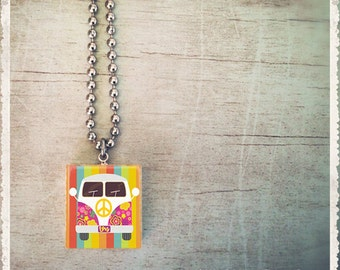 Scrabble Game Tile Jewelry - Rainbow Peace Bus - Scrabble Pendant Charm