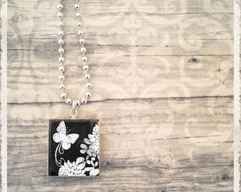 Scrabble Art Necklace - Vintage Black Butterfly - Scrabble Game Tile Pendant - Customize - Choose Your Style