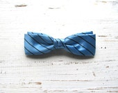 Vintage Bow Tie Blue Striped Clip On