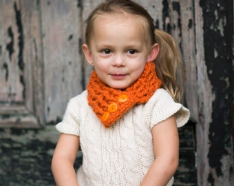 Orange Pumpkin Kids Scarf Orange Girls Scarf Orange Boys Scarf Girls Scarflette Boys Scarflette Orange Scarf Orange Scarflette Button Cowl