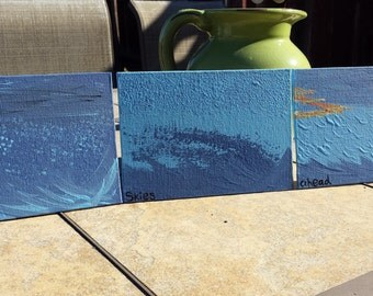 Ocean Triptych using 5 x 7 Canvas' and Acrylic