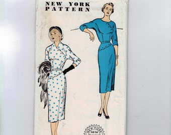 1950s Vintage Sewing Pattern New York 1091 Misses Slim Dress with Scalloped Detail Size 12 Bust 30 UNCUT 50s  99