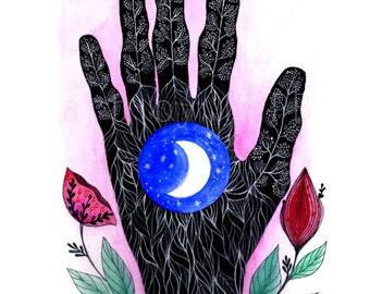 Mano poderosa de la Luna. Art print. Illustration