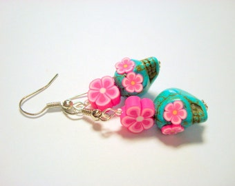 Turquoise and Bright Pink Sugar Skull and Daisy Earrings Small