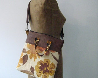 SALE! Laptop Bag, Laptop Sleeve, File Folder Bag, Crossbody Purse, vintage fabric and faux leather