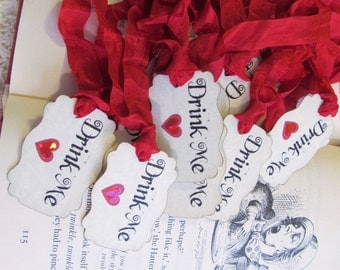 Alice Drink Me Tags Party Favor Tags - Red Sparkle Hearts - Set of 18 - Choose Ribbon Color - Alice Party Bridal Baby Shower Mad Tea Party