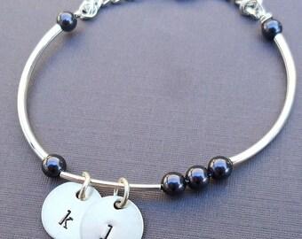 Personalized Initial Bracelet - Birthstone Pearls Bangle Bracelet - Personalized Initial and Name Bracelet- Custom Bracelet -B-12