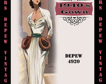 Vintage Sewing Pattern 1940's Evening Gown in Any Size - PLUS Size Included - Depew 4920 -INSTANT DOWNLOAD-