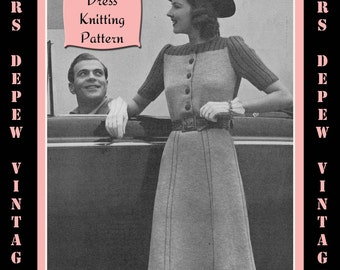 Vintage 1940's Ladies' Short Sleeve Dress Knitting Pattern Reproduction #4109 - INSTANT DOWNLOAD