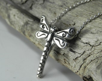 Dragonfly Necklace - Pendant - Dragon fly Jewelry - Sterling Silver Dragonflies - Whimsical Nature Vintage Inspired Dragonfly Woodland