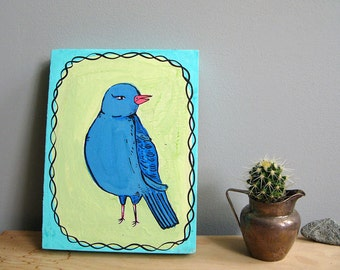 Blue bird, painting on wood