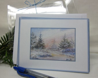 WINTER SUNSET Set os 6  Notecards from Original Painting
