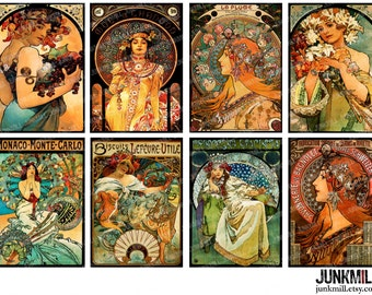 "MUCHA MASTERPIECES - Digital Printable Collage Sheet - 2.5"" x 3.5"" - Alphonse Mucha Art Nouveau Paintings, ATC Images, Digital Download"