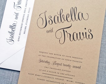 Isabella Script Recycled Kraft Wedding Invitation Sample