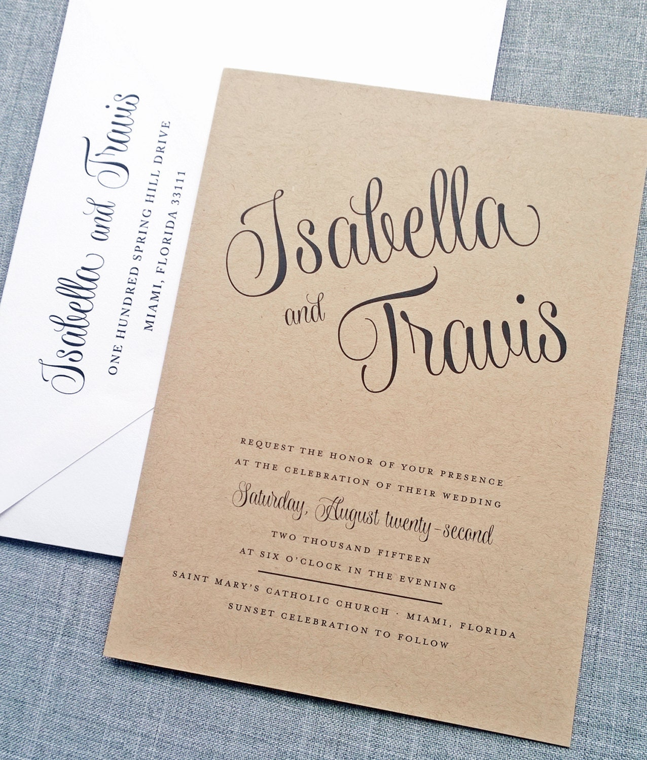 Recycled Wedding Invitations: Isabella Script Recycled Kraft Wedding Invitation Sample