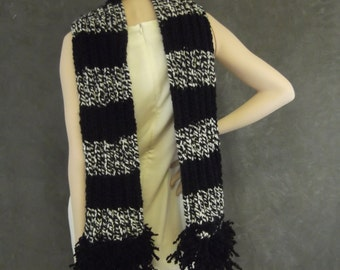 Accessory,Scatves and Wraps, Scarf,Extra Long, Black and White Tweed,Women,Winter,Knit Scarf