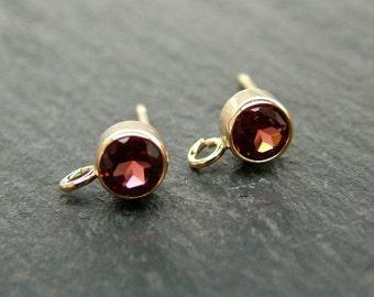 Gold Filled Garnet Ear Post ~ PAIR (CG6598)