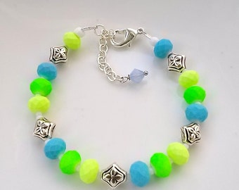 neon green and blue bracelet with adjustable chain