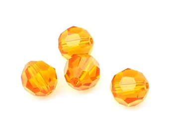 8mm Round Swarovski Beads TANGERINE Orange Beads Article 5000 8mm Beads Faceted Swarovski Crystal Beads Warm Sunny Orange Apricot Fall Beads