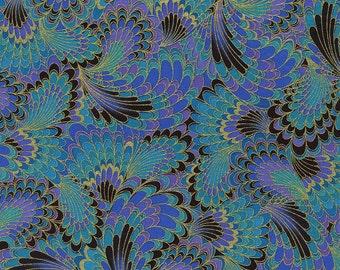 Palazzo Peacock Tailfeathers Timeless Treasures Fabric 1 yard