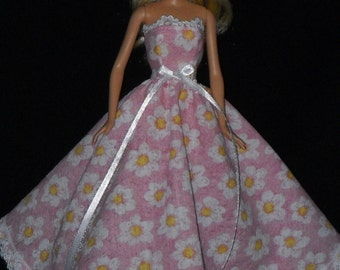Barbie Doll Dress Handmade Gown Pink with Flowers and Lace