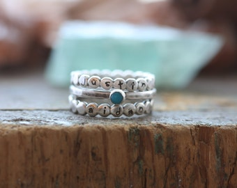 stacking ring trio with turquoise and sterling pebble Personalized stackable stacking rings- hand stamped stackable ring set