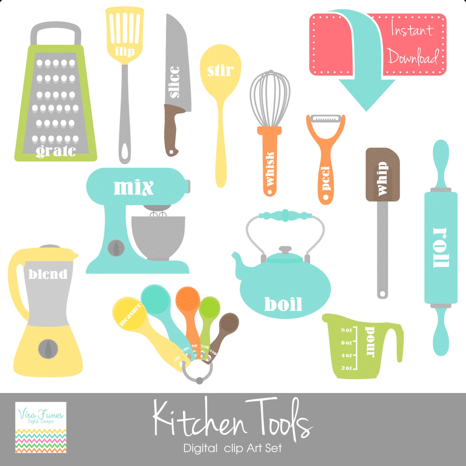 Kitchen Tools Digital Clip Art Clipart Collection