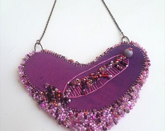 SALE Fragments in purple necklace, mixed media bead embroidery purple bib, marked down 50%, peyote stitch, statement bohemian Coachella