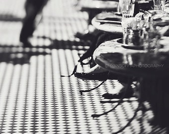 sale 25% off San Francisco photography, cafe photo, black and white photograph, checkerboard, restaurant, kitchen decor, California, food, c