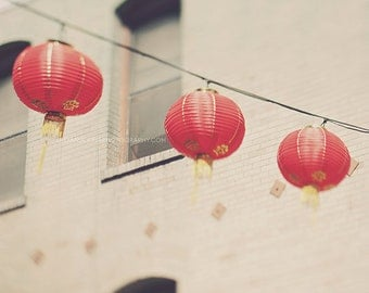 red chinese lanterns photo, San Francisco Chinatown print, photography, paper lanterns, asian decor, beige three, modern decor, California
