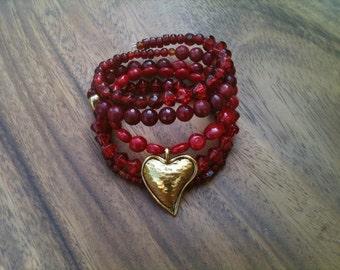 LOVESTRUCK memory wire heart charm cuff bracelet