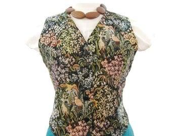 80s Tapestry Vest Vintage Woven Floral Brocade M